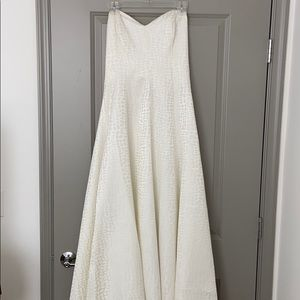 Victor Costa white Strapless Gown